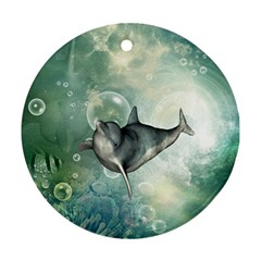 Funny Dswimming Dolphin Ornament (round)