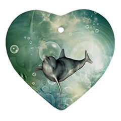 Funny Dswimming Dolphin Ornament (heart)