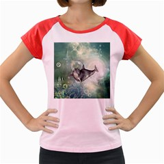 Funny Dswimming Dolphin Women s Cap Sleeve T-Shirt