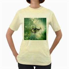 Funny Dswimming Dolphin Women s Yellow T Shirt