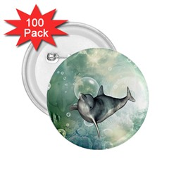 Funny Dswimming Dolphin 2 25  Buttons (100 Pack)