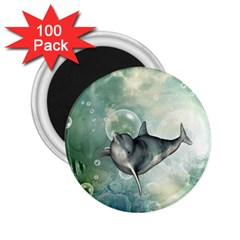 Funny Dswimming Dolphin 2 25  Magnets (100 Pack)