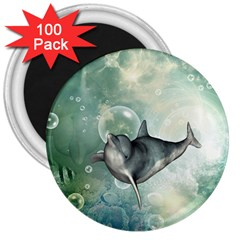 Funny Dswimming Dolphin 3  Magnets (100 Pack)