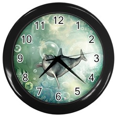 Funny Dswimming Dolphin Wall Clocks (black)