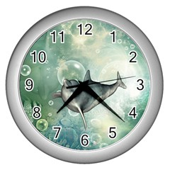 Funny Dswimming Dolphin Wall Clocks (silver)