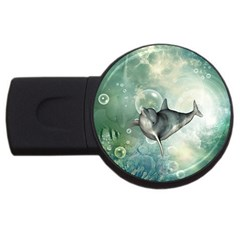 Funny Dswimming Dolphin Usb Flash Drive Round (2 Gb)