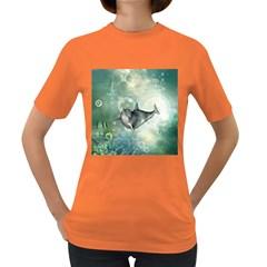 Funny Dswimming Dolphin Women s Dark T Shirt