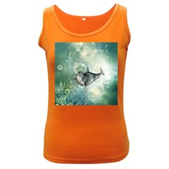 Funny Dswimming Dolphin Women s Dark Tank Tops