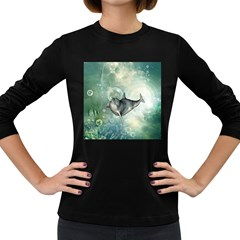 Funny Dswimming Dolphin Women s Long Sleeve Dark T Shirts