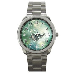 Funny Dswimming Dolphin Sport Metal Watches
