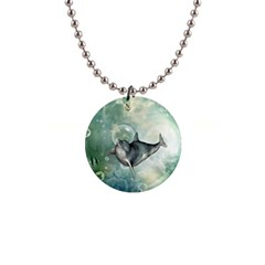 Funny Dswimming Dolphin Button Necklaces
