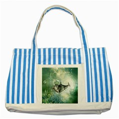 Funny Dswimming Dolphin Striped Blue Tote Bag