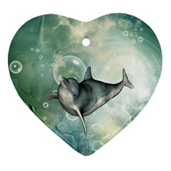 Funny Dswimming Dolphin Heart Ornament (2 Sides)