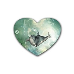 Funny Dswimming Dolphin Rubber Coaster (heart)
