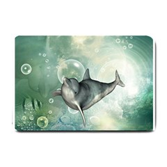 Funny Dswimming Dolphin Small Doormat