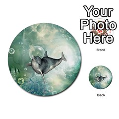 Funny Dswimming Dolphin Multi Purpose Cards (round)