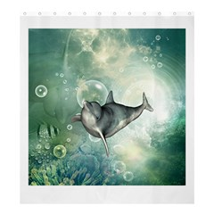Funny Dswimming Dolphin Shower Curtain 66  X 72  (large)