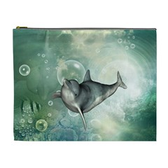 Funny Dswimming Dolphin Cosmetic Bag (xl)