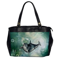 Funny Dswimming Dolphin Office Handbags
