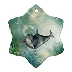 Funny Dswimming Dolphin Snowflake Ornament (2-Side)