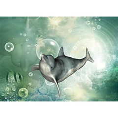 Funny Dswimming Dolphin Birthday Cake 3d Greeting Card (7x5)
