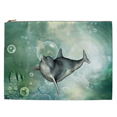 Funny Dswimming Dolphin Cosmetic Bag (xxl)