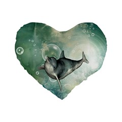 Funny Dswimming Dolphin Standard 16  Premium Heart Shape Cushions