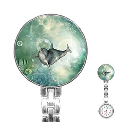 Funny Dswimming Dolphin Stainless Steel Nurses Watches
