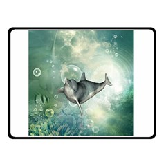 Funny Dswimming Dolphin Double Sided Fleece Blanket (Small)