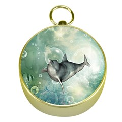 Funny Dswimming Dolphin Gold Compasses