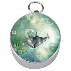 Funny Dswimming Dolphin Silver Compasses