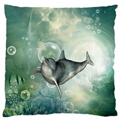 Funny Dswimming Dolphin Large Flano Cushion Cases (Two Sides)