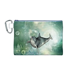 Funny Dswimming Dolphin Canvas Cosmetic Bag (M)