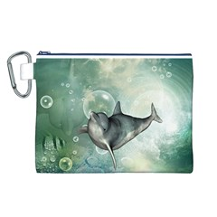 Funny Dswimming Dolphin Canvas Cosmetic Bag (L)
