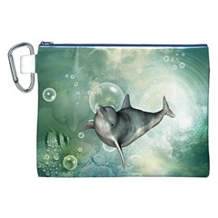 Funny Dswimming Dolphin Canvas Cosmetic Bag (XXL)