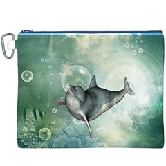 Funny Dswimming Dolphin Canvas Cosmetic Bag (XXXL)