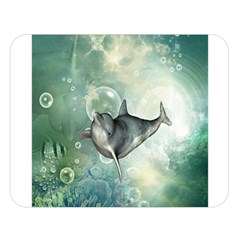 Funny Dswimming Dolphin Double Sided Flano Blanket (Large)