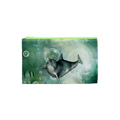 Funny Dswimming Dolphin Cosmetic Bag (xs)
