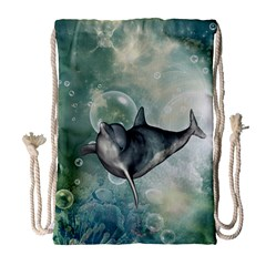 Funny Dswimming Dolphin Drawstring Bag (large)