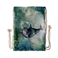 Funny Dswimming Dolphin Drawstring Bag (Small)