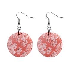 Delicate Floral Pattern,pink  Mini Button Earrings