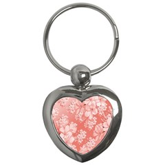 Delicate Floral Pattern,pink  Key Chains (heart)