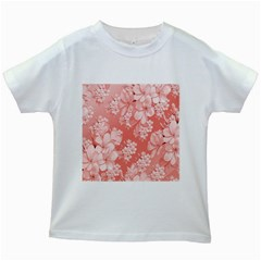 Delicate Floral Pattern,pink  Kids White T-Shirts