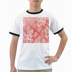 Delicate Floral Pattern,pink  Ringer T Shirts