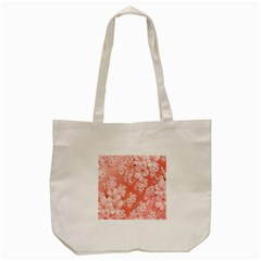 Delicate Floral Pattern,pink  Tote Bag (Cream)
