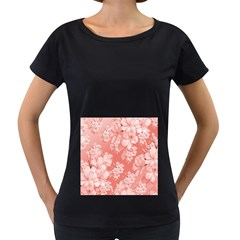 Delicate Floral Pattern,pink  Women s Loose-Fit T-Shirt (Black)
