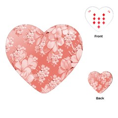 Delicate Floral Pattern,pink  Playing Cards (Heart)