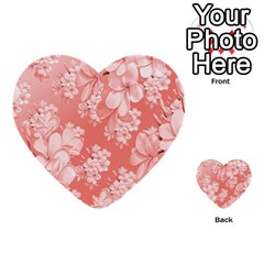 Delicate Floral Pattern,pink  Multi Purpose Cards (heart)