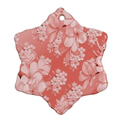 Delicate Floral Pattern,pink  Snowflake Ornament (2-Side)