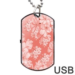 Delicate Floral Pattern,pink  Dog Tag USB Flash (One Side)